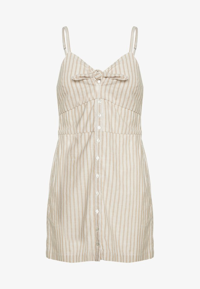 BARE BUTTON THRU MINI - Day dress - tan/white
