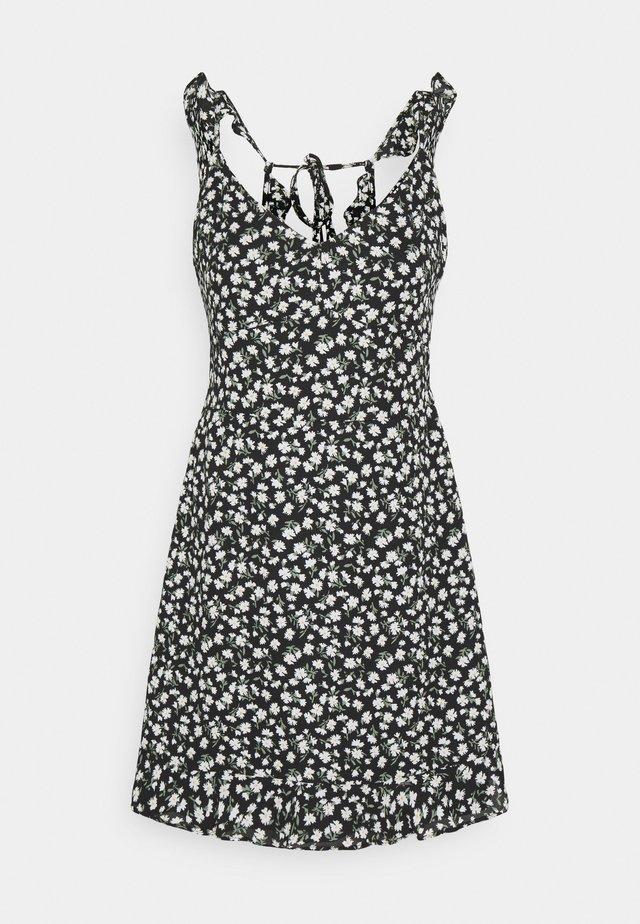 RUFFLE STRAP BACK DETAIL - Day dress - black