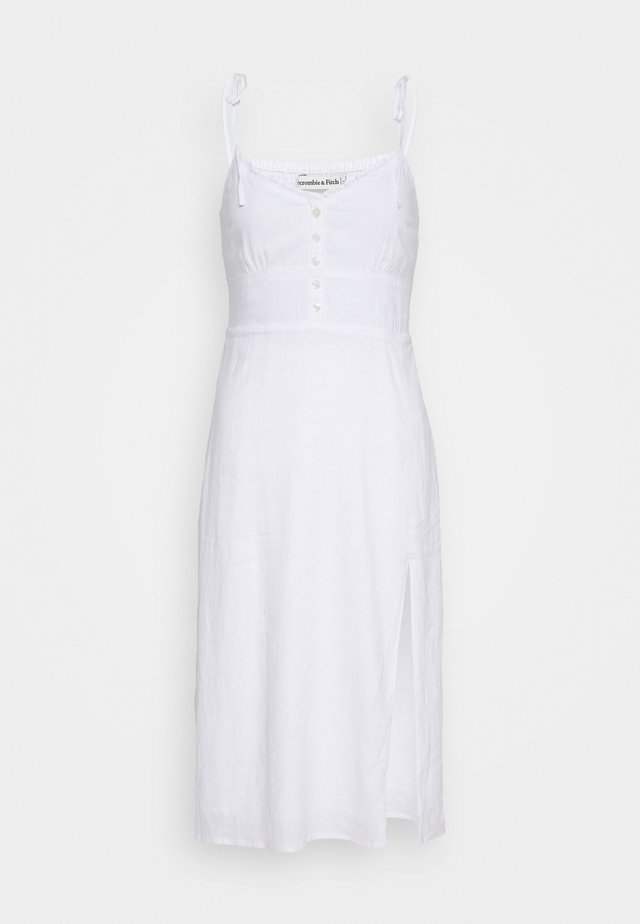 V NECK BUTTON THRU MIDI - Day dress - white