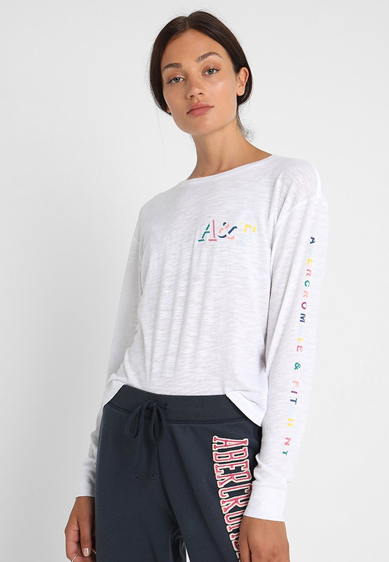 Abercrombie & Fitch - LONG SLEEVE HIT RAINBOW LOGO - Long sleeved top - white