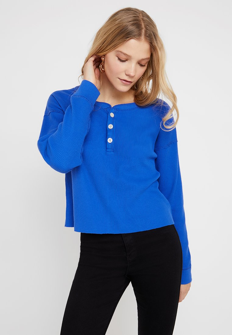 Abercrombie & Fitch - WAFFLE HENLEY - Long sleeved top - dazzling blue