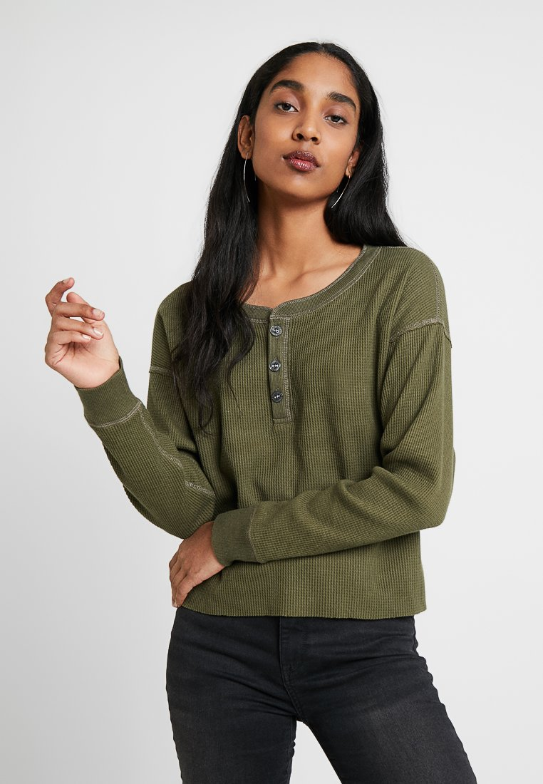 Abercrombie & Fitch - WAFFLE HENLEY - Long sleeved top - green