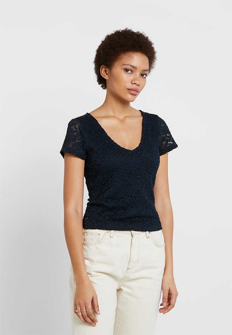Abercrombie & Fitch - TEE - T-Shirt print - navy