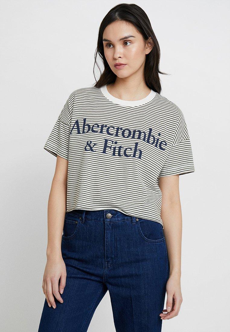 Abercrombie & Fitch - LOGO TEE - Triko spotiskem - white/khaki
