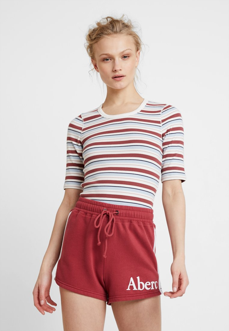 Abercrombie & Fitch - HALF SLEEVE SNAP - Jednoduché triko - red/white
