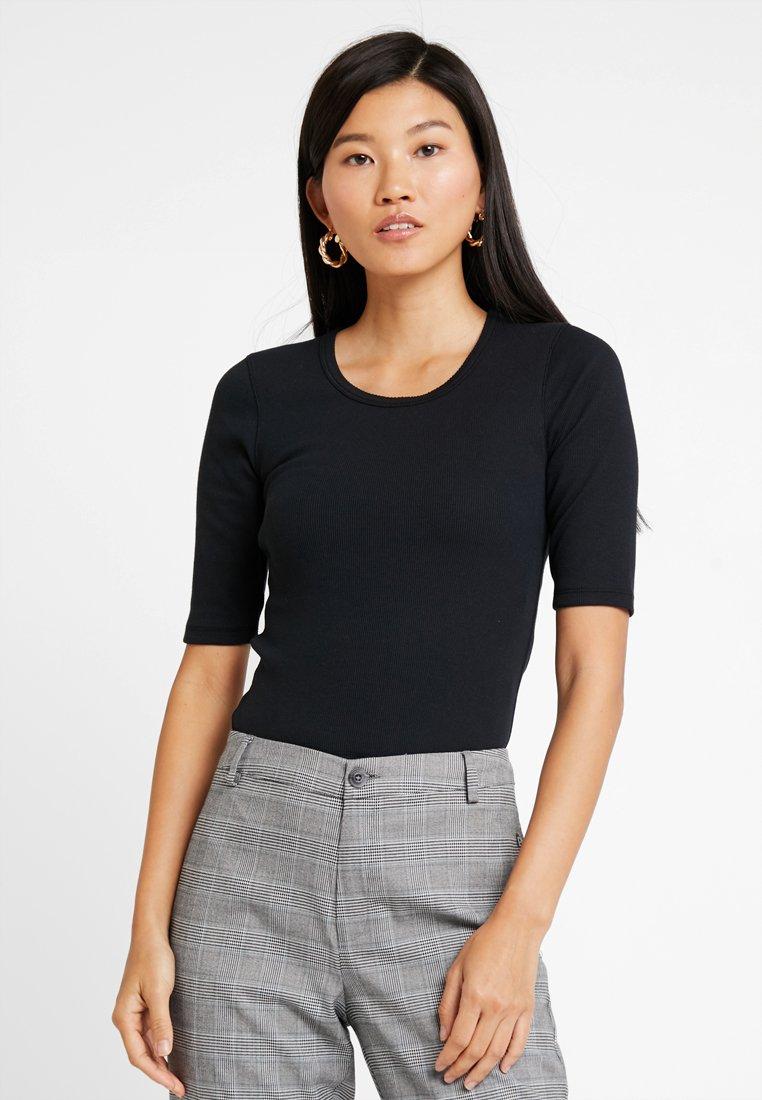 Abercrombie & Fitch - HALF SLEEVE SNAP - T-shirt - bas - black