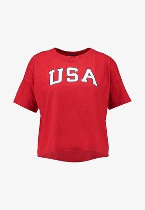 SHORT SLEEVE KNOT BOTTOM AMERICANA TEE - Print T-shirt - red