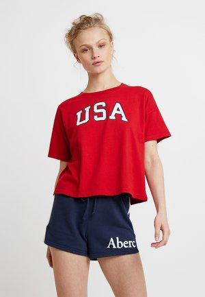 SHORT SLEEVE KNOT BOTTOM AMERICANA TEE - T-shirt imprimé - red