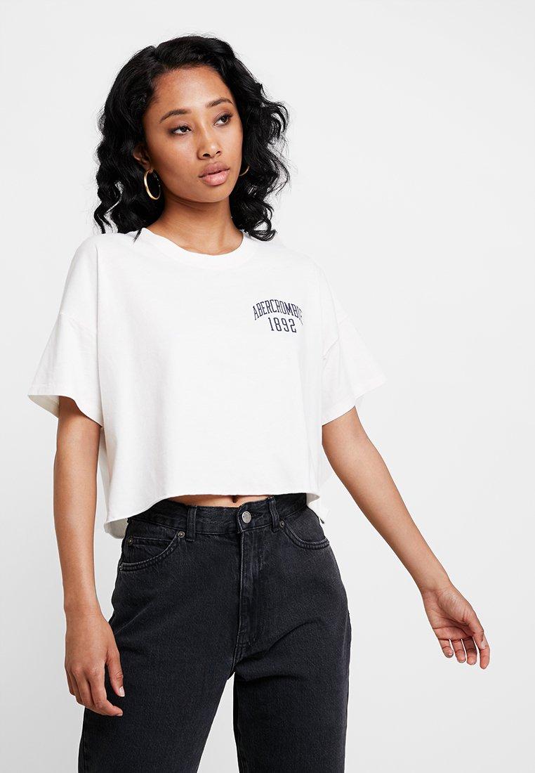 Short shirt Abercrombieamp; Imprimé TeeT Logo Fitch White Sleeve cJulK31TF