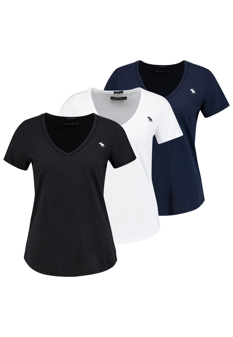 Abercrombie & Fitch - V NECK TEE 3 PACK - T-shirt con stampa - black/white/navy