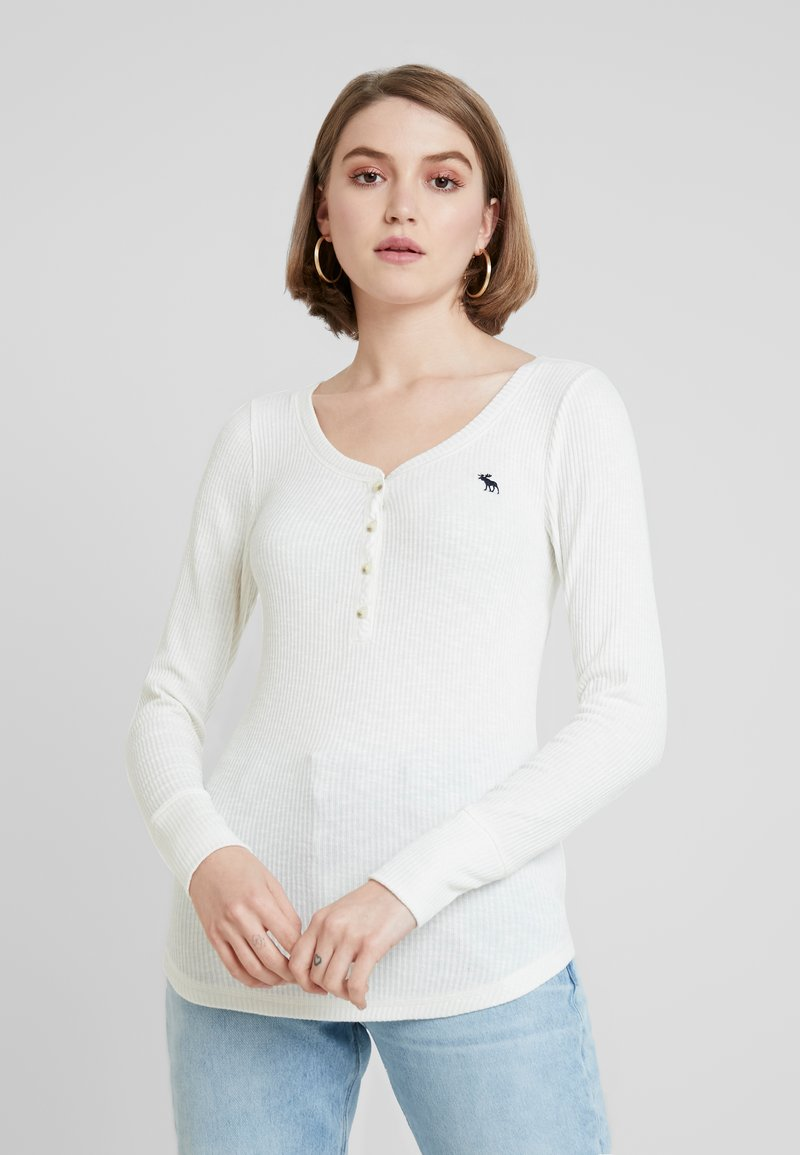 Abercrombie & Fitch - LONG SLEEVE ICON HENLEY - T-shirt à manches longues - jet stream