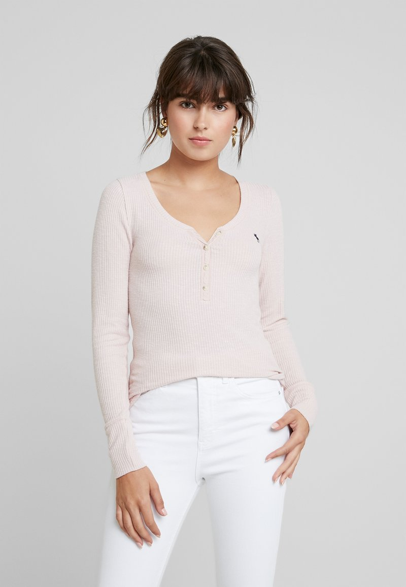 Abercrombie & Fitch - LONG SLEEVE ICON HENLEY - Long sleeved top - sepia rose