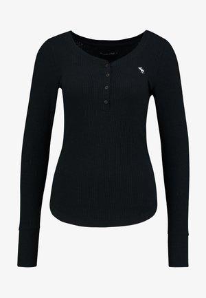 LONG SLEEVE ICON HENLEY - Maglietta a manica lunga - black beauty