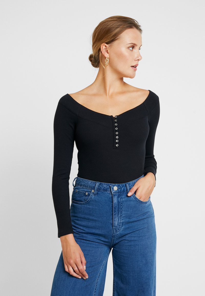 Abercrombie & Fitch - LONG SLEEVE BODYSUIT - Long sleeved top - black