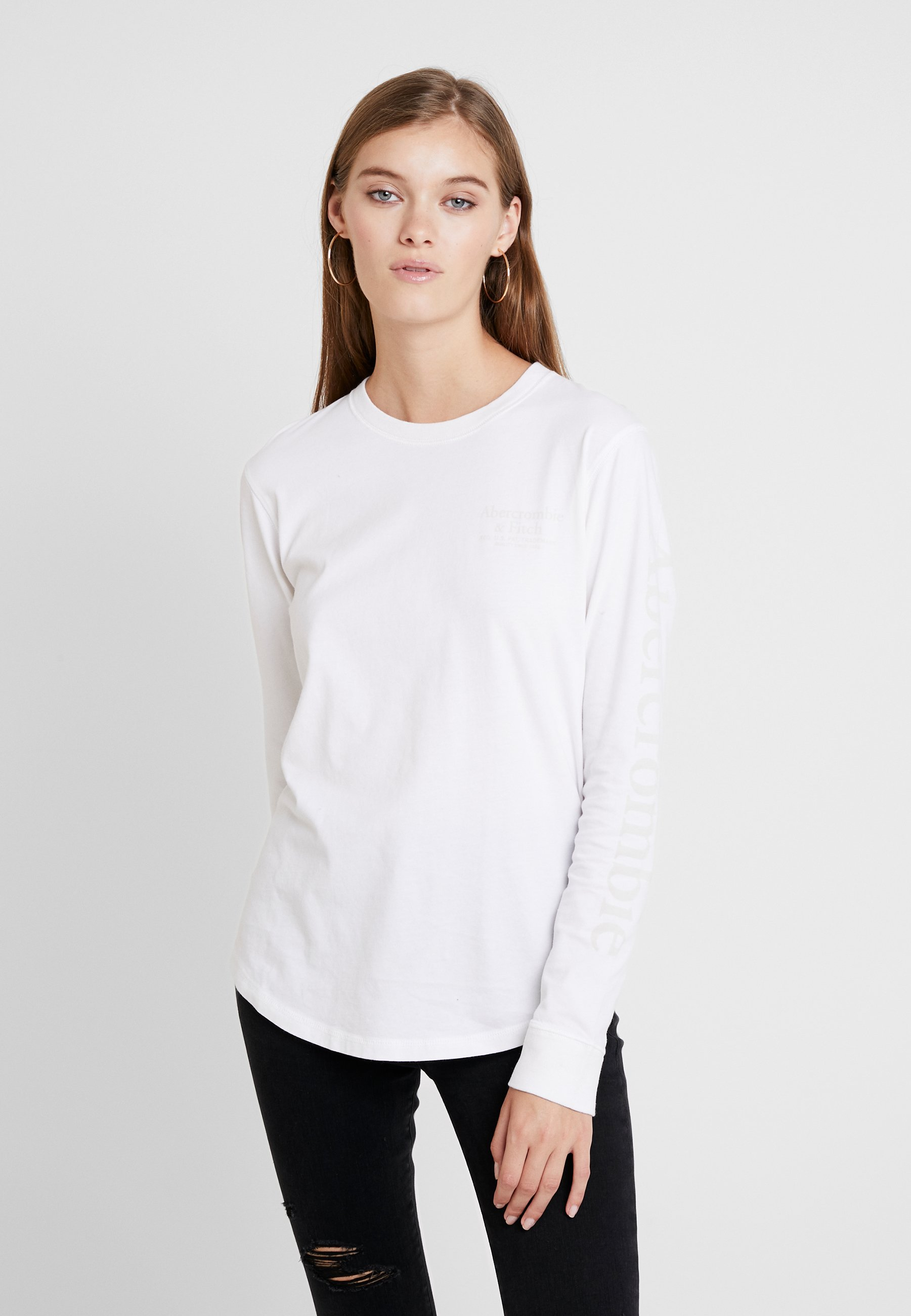 À Long Sleeve Fitch Logo TeeT Manches shirt Longues Abercrombieamp; White PiuOkXZT