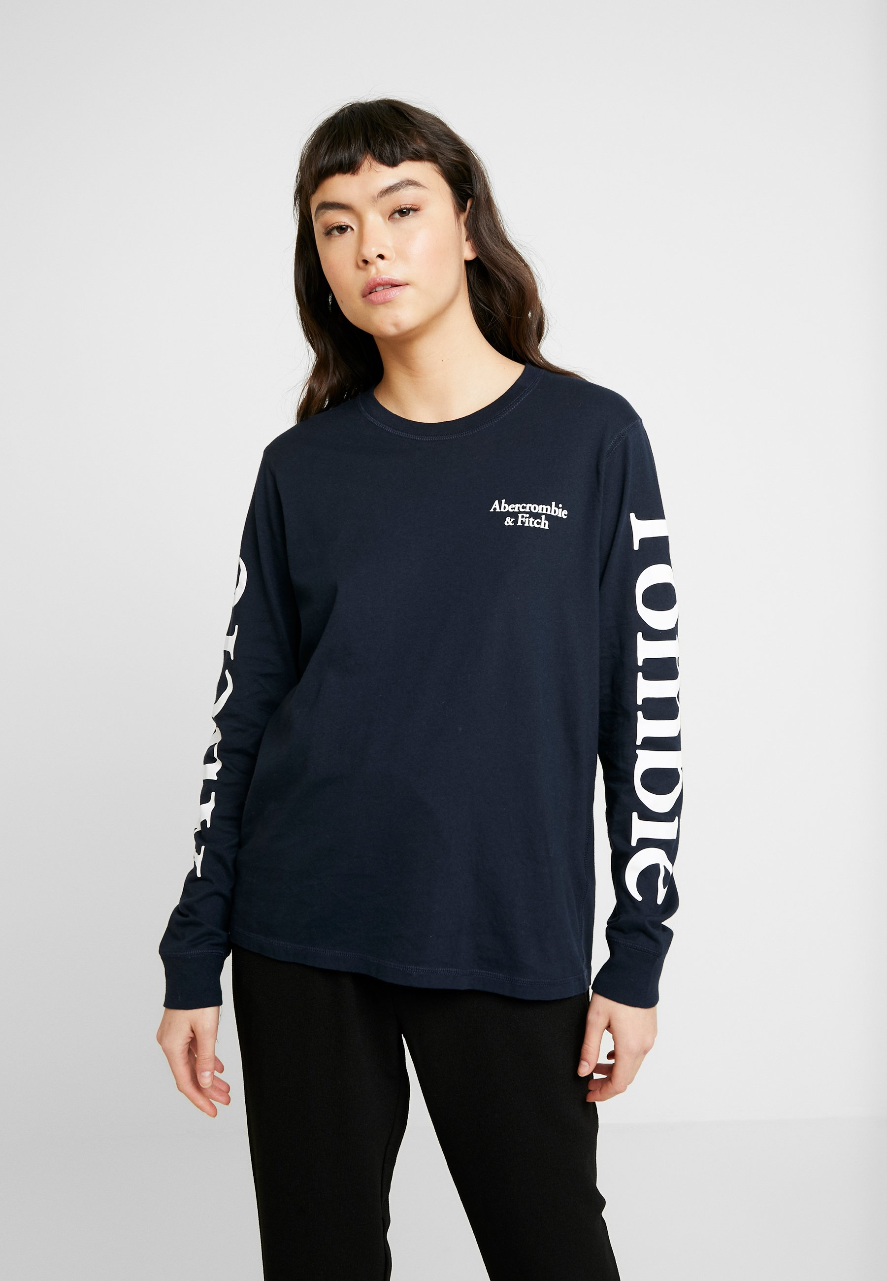Abercrombie & Fitch PRINT LOGO TEE - Bluzka z długim rękawem - navy