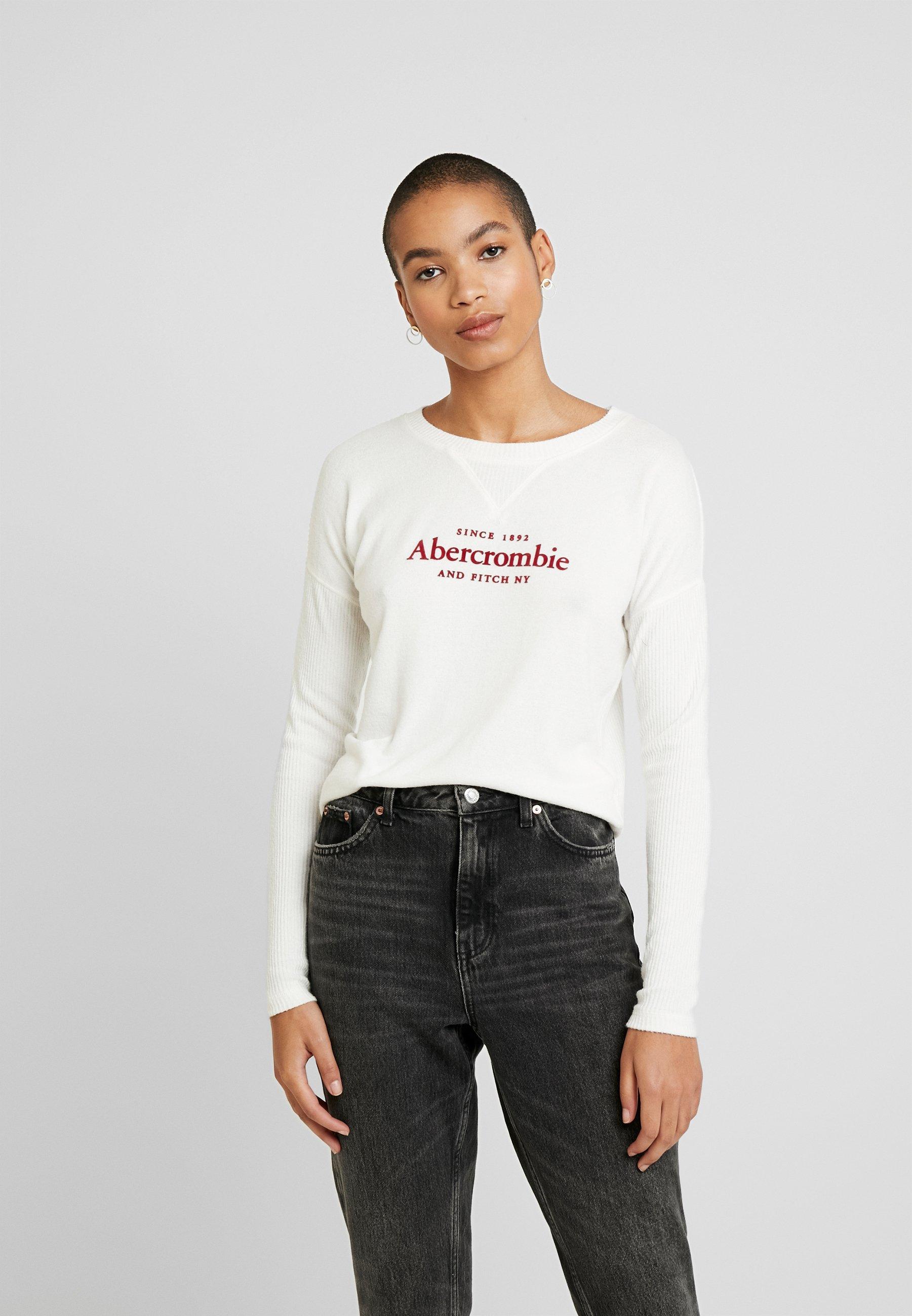 Abercrombie & Fitch COZY LOGO - Bluzka z długim rękawem - white