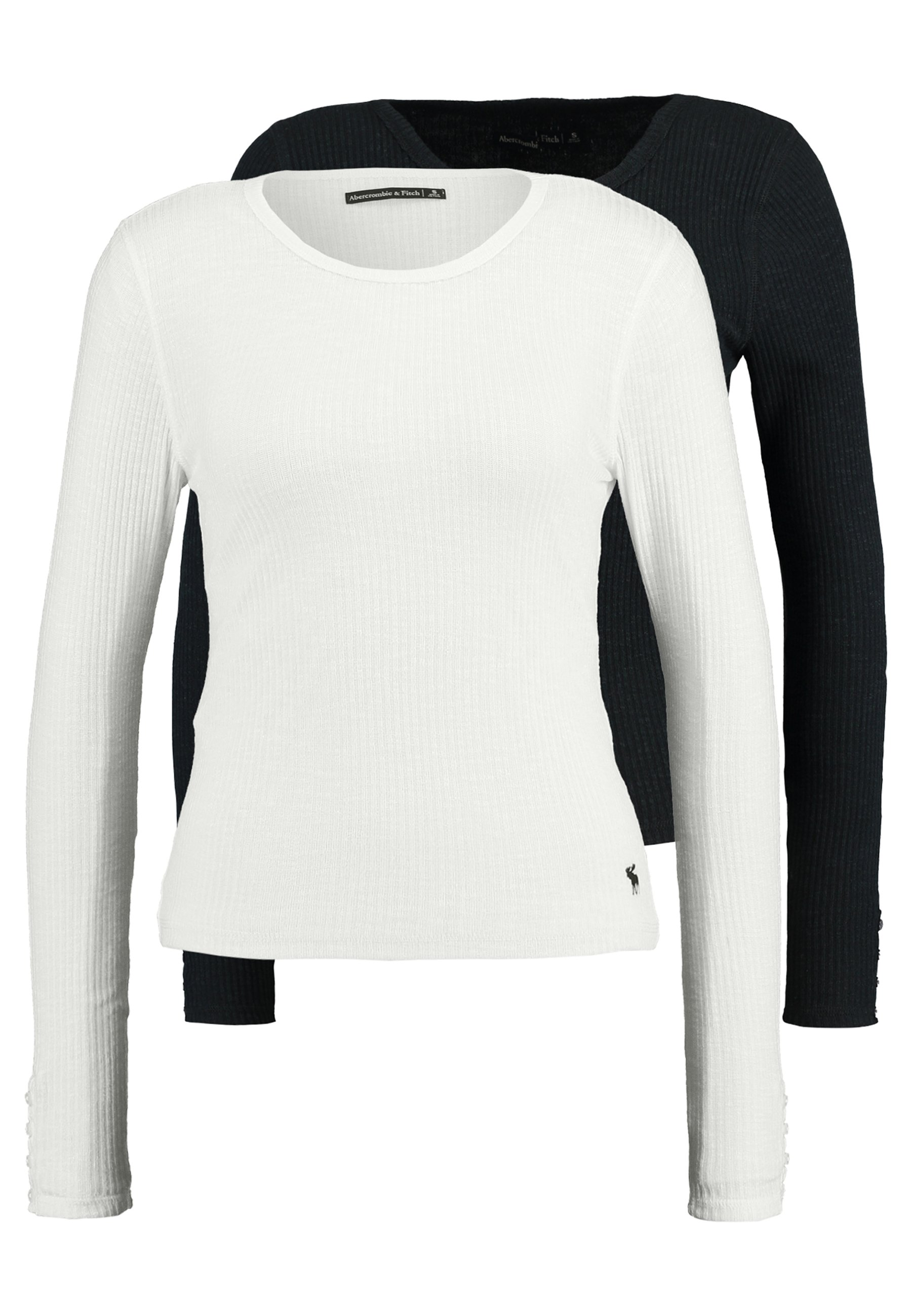 Abercrombie & Fitch SLIM MULTI 2 PACK - Bluzka z długim rękawem - black/white