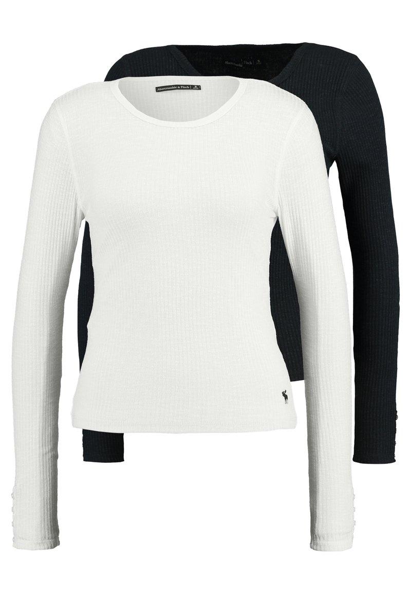 Abercrombie & Fitch - SLIM MULTI 2 PACK - Top sdlouhým rukávem - black/white