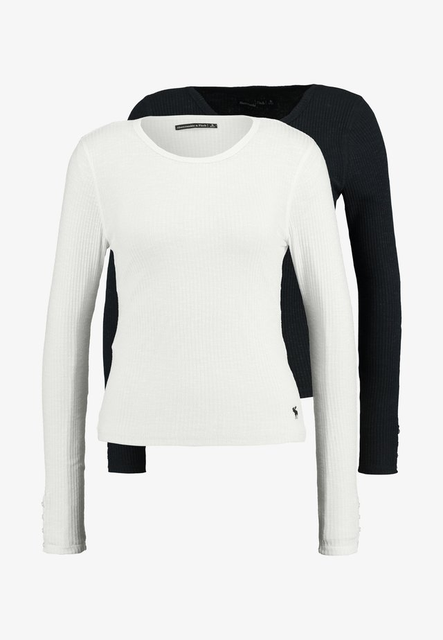 SLIM MULTI 2 PACK - Long sleeved top - black/white