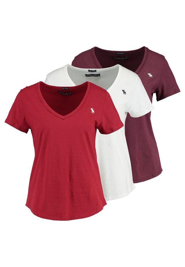 T-Shirt basic - white red burgundy