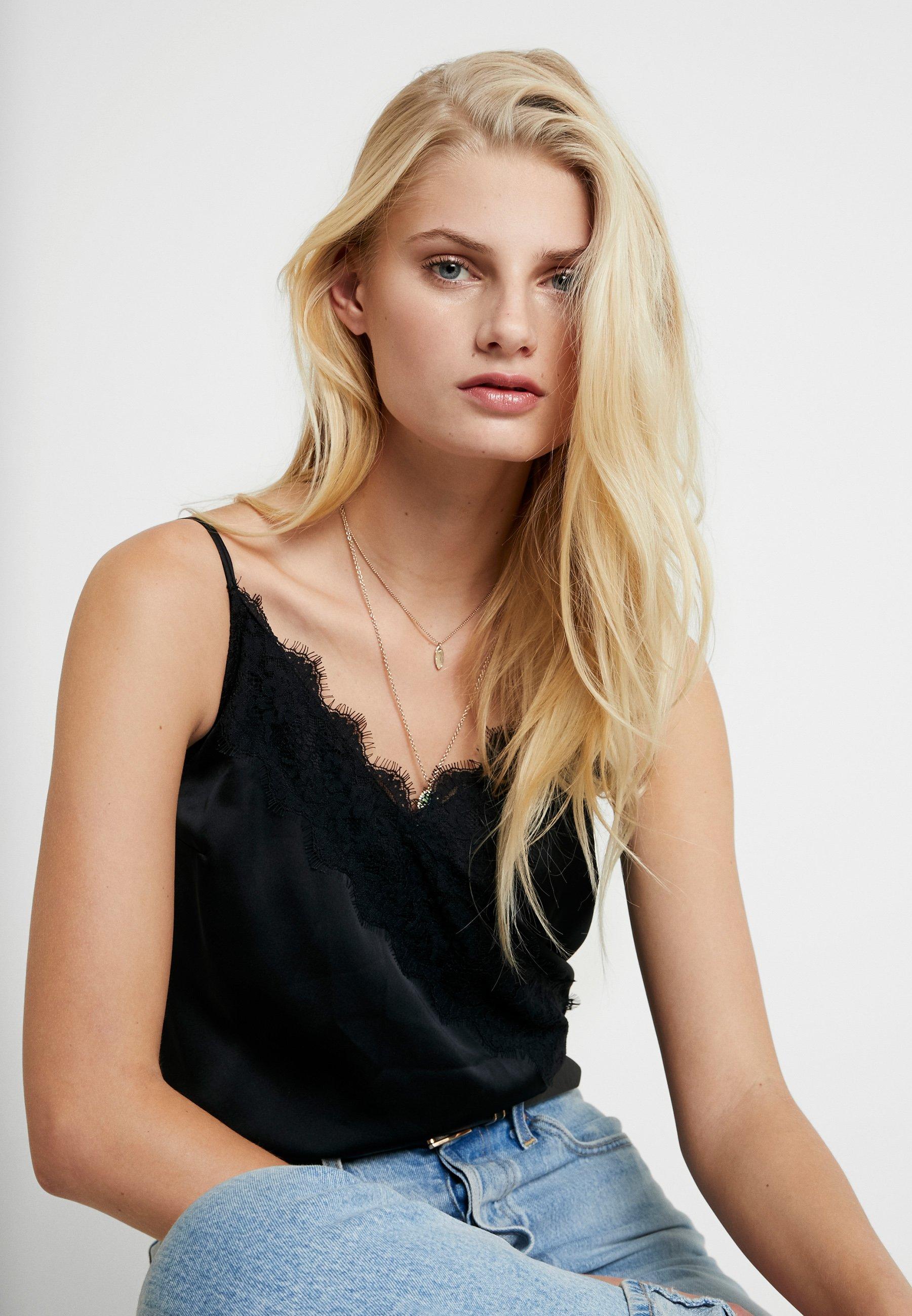Abercrombie & Fitch Wrap Cami Bodysuit - Débardeur Black
