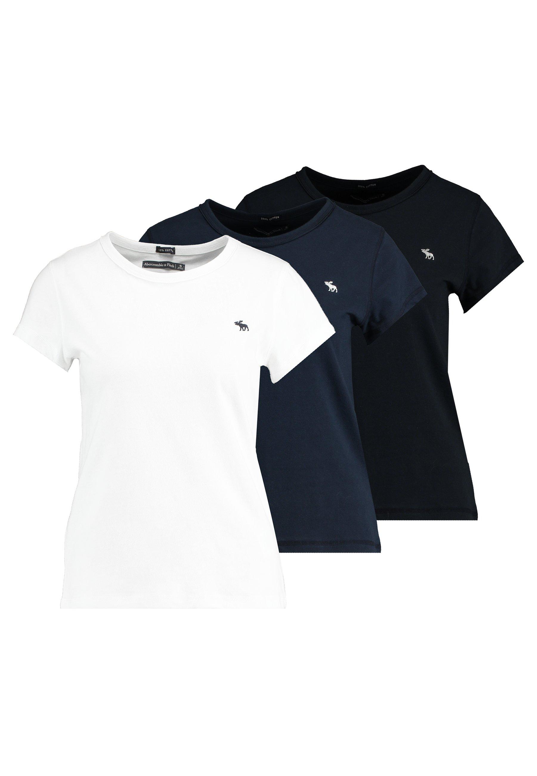 Abercrombie & Fitch CREW 3 PACK - T-shirt z nadrukiem - white/navy/black
