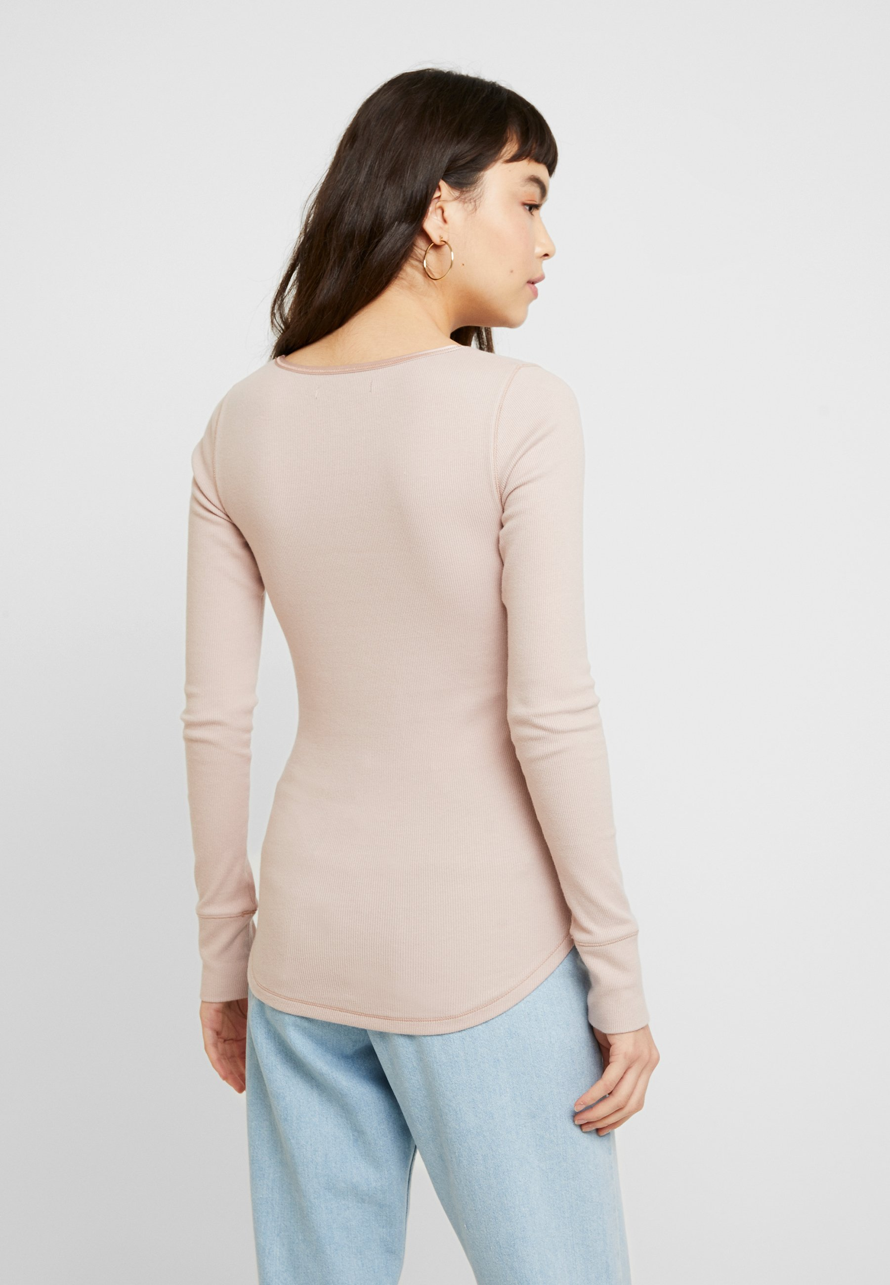 Abercrombie & Fitch Cozy Henley - Maglietta A Manica Lunga Light Pink/shadow Grey uw4HUPR