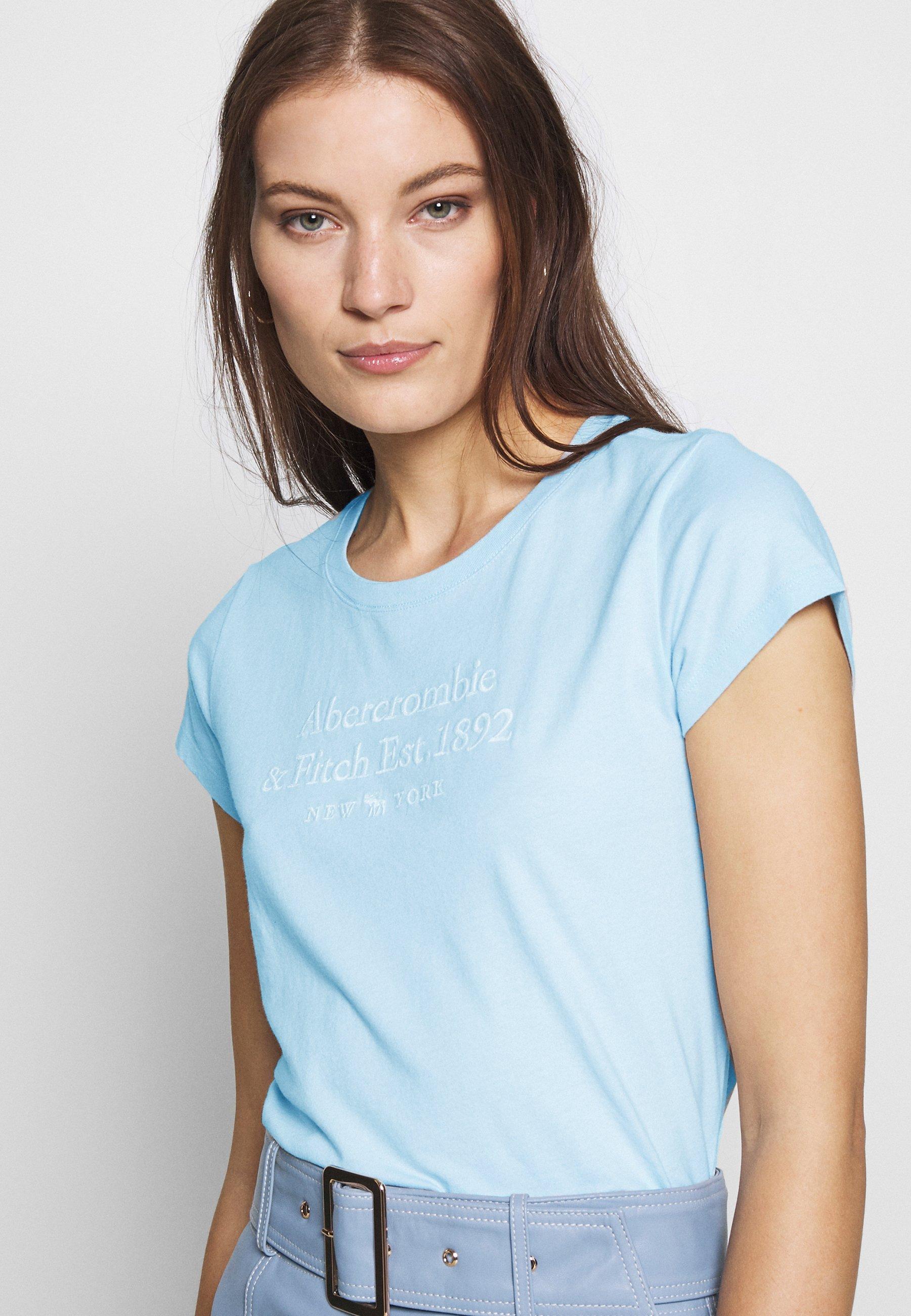 Abercrombie & Fitch LONG LIFE LOGO  - T-shirt z nadrukiem - light blue