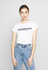 Abercrombie & Fitch - LONG LIFE LOGO - Print T-shirt - white - 0