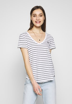VNECK  - Print T-shirt - white/black