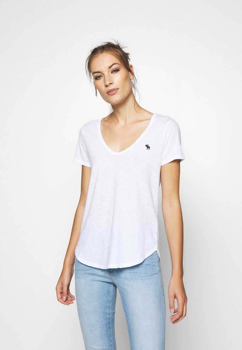 Abercrombie & Fitch - SOFT ICON TEE - Basic T-shirt - white