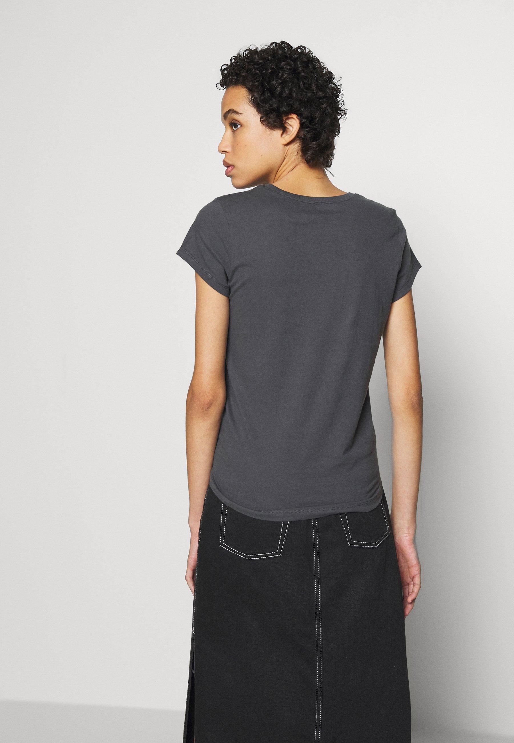 Abercrombie & Fitch ITALICS LOGO TEE - T-shirt z nadrukiem - black