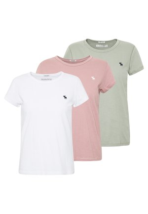 SEASONAL CREW 3 PACK - T-shirt con stampa - pink/white/olive