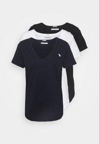 Abercrombie & Fitch - VNECK 3 PACK - Basic T-shirt - black/white/navy - 0