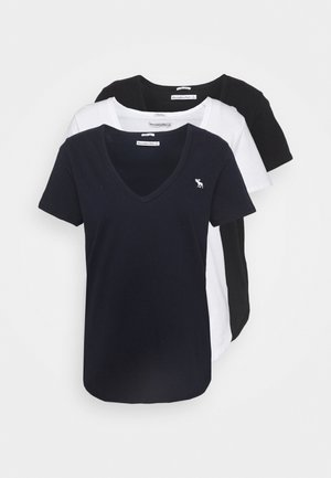 VNECK 3 PACK - T-shirts - black/white/navy
