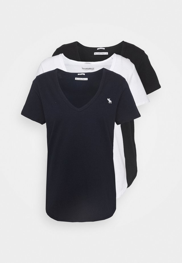 VNECK 3 PACK - T-shirt basique - black/white/navy
