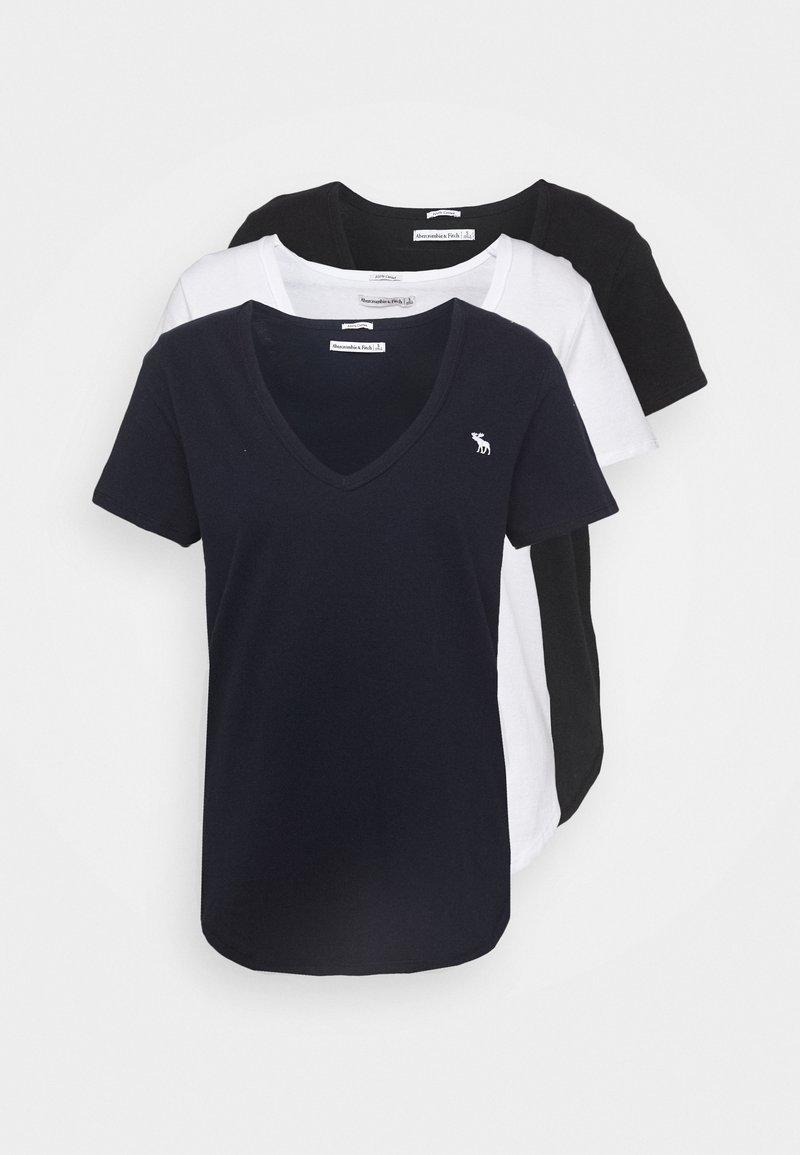 Abercrombie & Fitch - VNECK 3 PACK - Basic T-shirt - black/white/navy