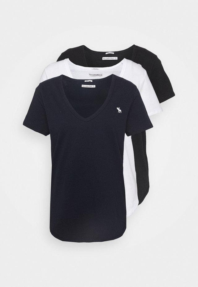 VNECK 3 PACK - Jednoduché triko - black/white/navy