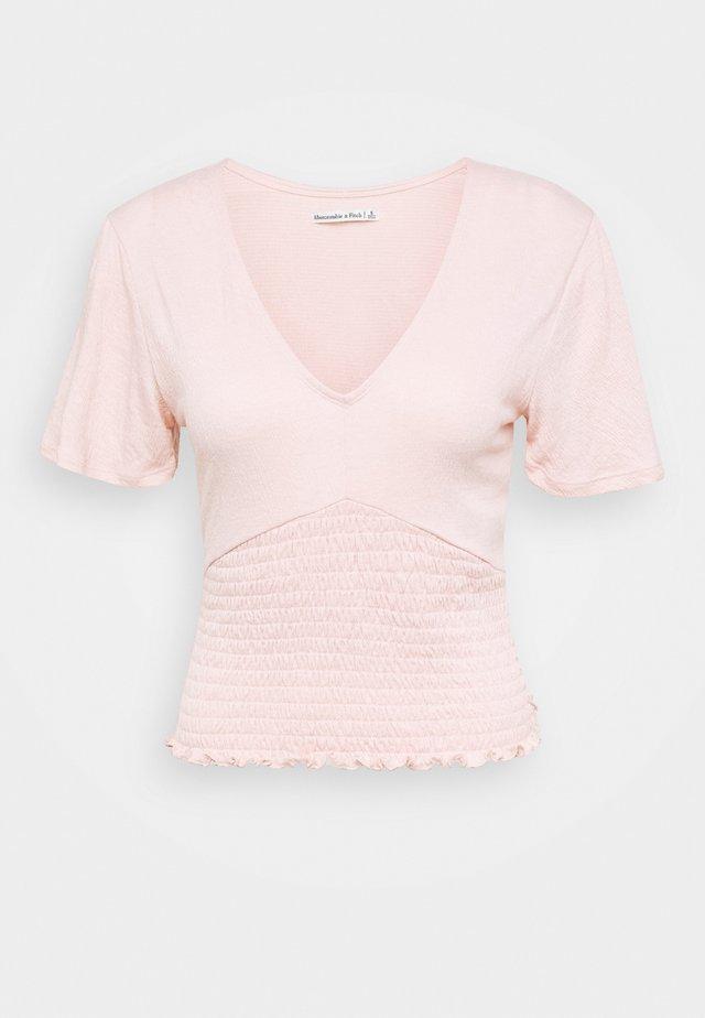 SLEEVE SMOCKED BOTTOM - Basic T-shirt - pink