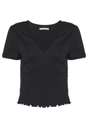 SLEEVE SMOCKED BOTTOM - T-shirt basic - black