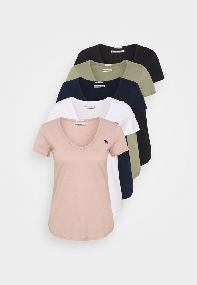 5 PACK - T-Shirt basic - white/black/pink/olive/navy