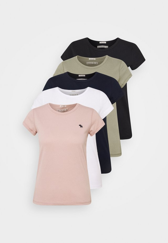 5 PACK - T-shirt basique - white/black/pink/olive/navy