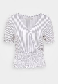 Abercrombie & Fitch - SMOCKED WRAP RUFFL - Blouse - blue/white - 4