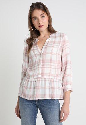 PEPLUM PLAID POPOVER - Blusa - white/pink