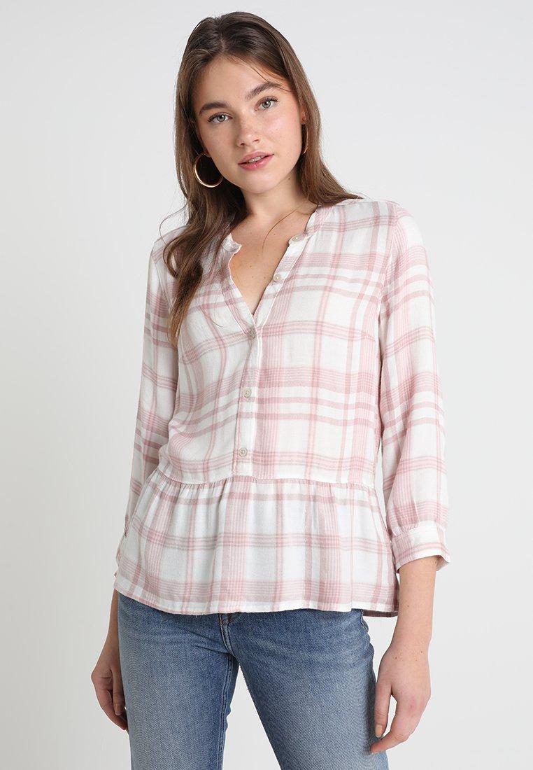 Abercrombie & Fitch - PEPLUM PLAID POPOVER - Camicetta - white/pink