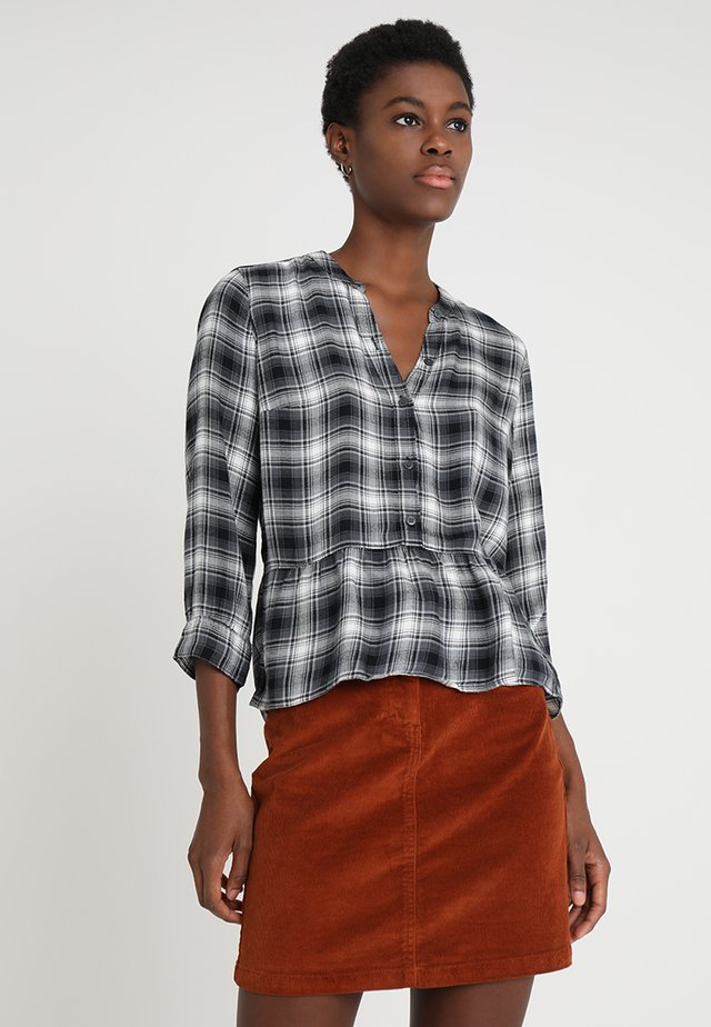 PEPLUM PLAID POPOVER - Bluse - black/white