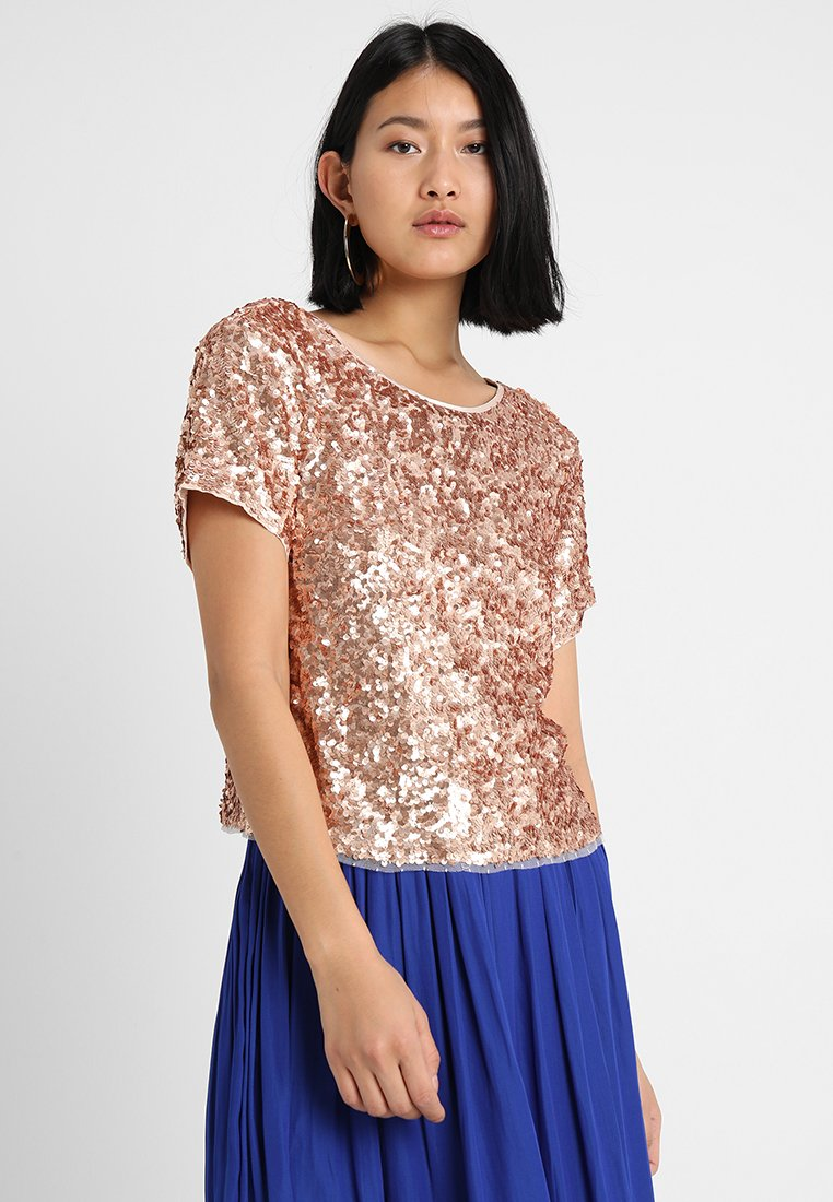 Abercrombie & Fitch - SEQUIN TEE - T-shirt print - pink