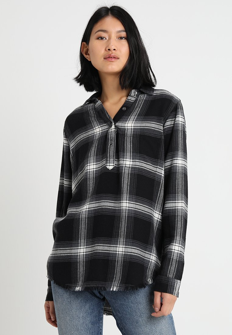 Abercrombie & Fitch - PLAID LONG SLEEVE - Bluse - black