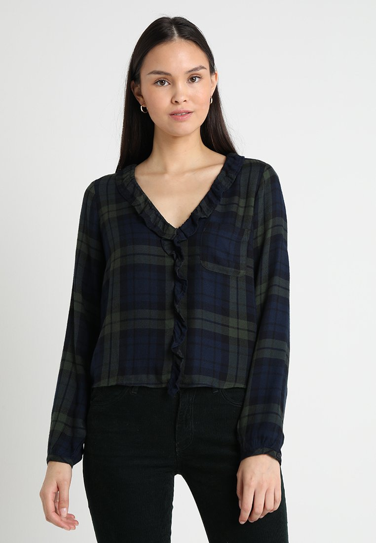 Abercrombie & Fitch - PLAID BLOUSE - Blouse - green